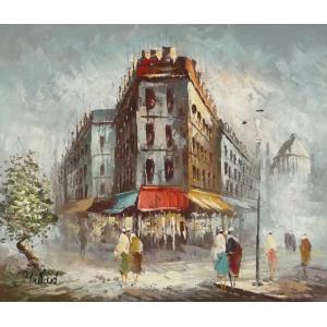 油彩画 洋画 肉筆油絵 F8号 「パリの街風景」-99-|touo