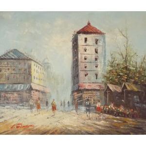 油彩画 洋画 肉筆油絵 F8号 「パリの街風景」-100-|touo