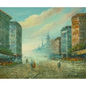 油彩画 洋画 肉筆油絵 F8号 「パリの街風景」-83-|touo