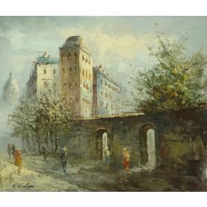 油彩画 洋画 肉筆油絵 F8号 「パリの街風景」-85-|touo