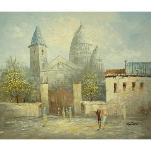 油彩画 洋画 肉筆油絵 F8号 「パリの街風景」-86-|touo