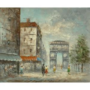 油彩画 洋画 肉筆油絵 F8号 「パリの街風景」-87-|touo
