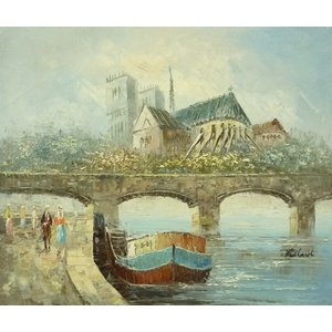 油彩画 洋画 肉筆油絵 F8号 「パリの街風景」-88-|touo