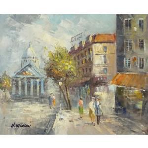 油彩画 洋画 肉筆油絵 F8号 「パリの街風景」-89-|touo