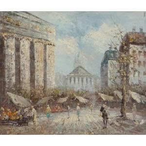 油彩画 洋画 肉筆油絵 F8号 「パリの街風景」-104-|touo