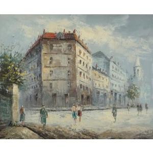 油彩画 洋画 肉筆油絵 F8号 「パリの街風景」-105-|touo