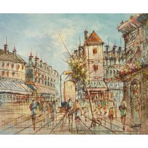 油彩画 洋画 肉筆油絵 F8号 「パリの街風景」-106-|touo