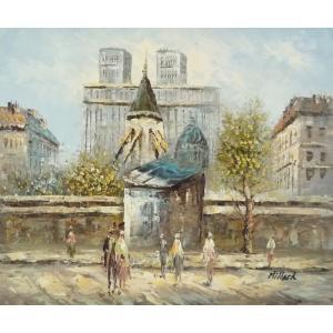 油彩画 洋画 肉筆油絵 F8号 「パリの街風景」-108-|touo