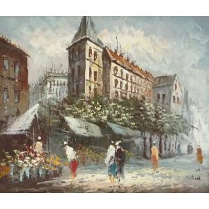 油彩画 洋画 肉筆油絵 F8号 「パリの街風景」-109-|touo