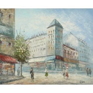 油彩画 洋画 肉筆油絵 F8号 「パリの街風景」-110-|touo