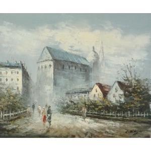 油彩画 洋画 肉筆油絵 F8号 「パリの街風景」-111-|touo