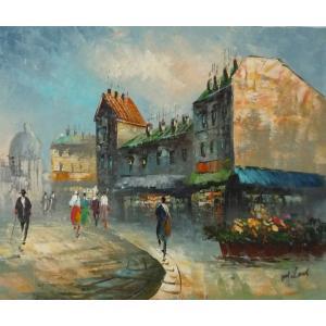 油彩画 洋画 肉筆油絵 F8号 「パリの街風景」-120-|touo