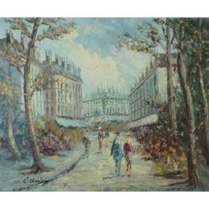 油彩画 洋画 肉筆油絵 F8号 「パリの街風景」-121-|touo