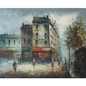 油彩画 洋画 肉筆油絵 F8号 「パリの街風景」-123-|touo