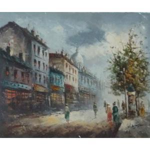 油彩画 洋画 肉筆油絵 F8号 「パリの街風景」-124-|touo