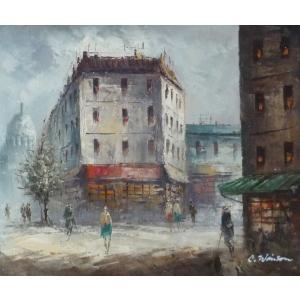 油彩画 洋画 肉筆油絵 F8号 「パリの街風景」-113-|touo