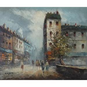 油彩画 洋画 肉筆油絵 F8号 「パリの街風景」-114-|touo