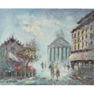 油彩画 洋画 肉筆油絵 F8号 「パリの街風景」-115-|touo
