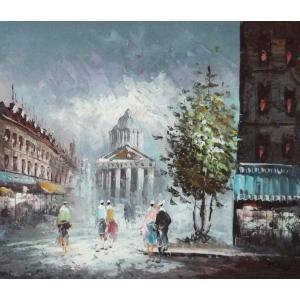 油彩画 洋画 肉筆油絵 F8号 「パリの街風景」-117-|touo