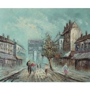 油彩画 洋画 肉筆油絵 F8号 「パリの街風景」-118-|touo