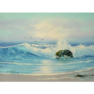 絵画 肉筆油絵 F4号 「波 海 海景画」-12- 特価|touo