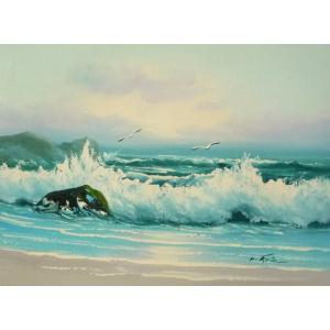 絵画 肉筆油絵 F4号 「波 海 海景画」-13- 特価|touo
