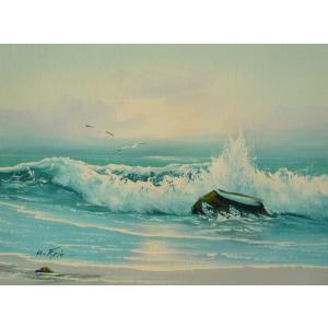 絵画 肉筆油絵 F4号 「波 海 海景画」-17- 特価|touo