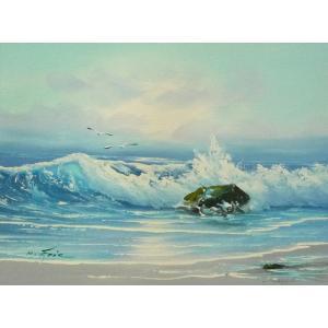 絵画 肉筆油絵 F4号 「波 海 海景画」-33- 特価|touo