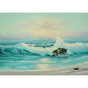 絵画 肉筆油絵 F4号 「波 海 海景画」-35- 特価|touo