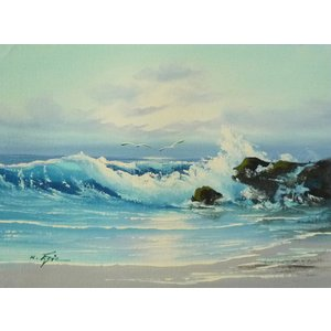 絵画 肉筆油絵 F4号 「波 海 海景画」-36- 特価|touo