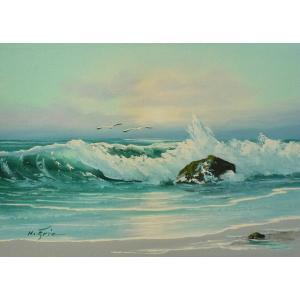 絵画 肉筆油絵 F4号 「波 海 海景画」-40- 特価|touo