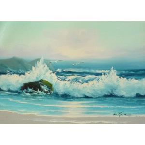 絵画 肉筆油絵 F4号 「波 海 海景画」-30- 特価|touo