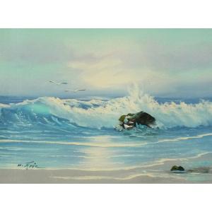 絵画 肉筆油絵 F4号 「波 海 海景画」-31- 特価|touo