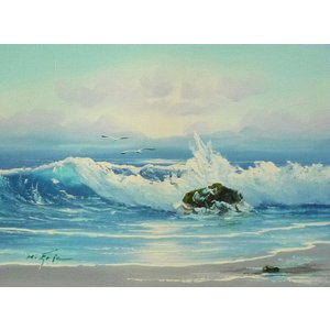 絵画 肉筆油絵 F4号 「波 海 海景画」-32- 特価|touo