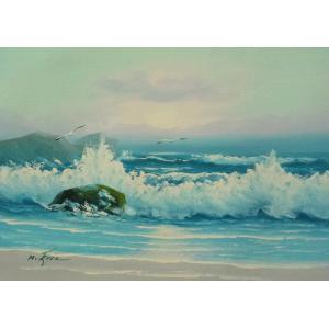 絵画 肉筆油絵 F4号 「波 海 海景画」-55- 特価|touo