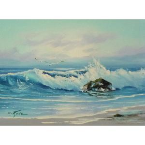 絵画 肉筆油絵 F4号 「波 海 海景画」-58- 特価|touo