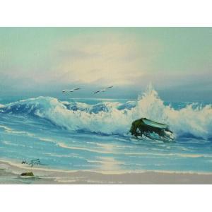 絵画 肉筆油絵 F4号 「波 海 海景画」-59- 特価|touo