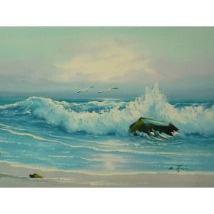 絵画 肉筆油絵 F4号 「波 海 海景画」-75- 特価|touo
