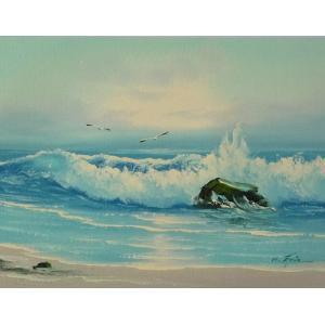 絵画 肉筆油絵 F4号 「波 海 海景画」-68- 特価|touo