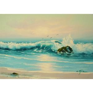 絵画 肉筆油絵 F4号 「波 海 海景画」-108- 特価|touo