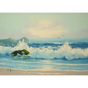 絵画 肉筆油絵 F4号 「波 海 海景画」-110- 特価|touo