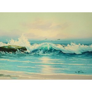 絵画 肉筆油絵 F4号 「波 海 海景画」-98- 特価|touo