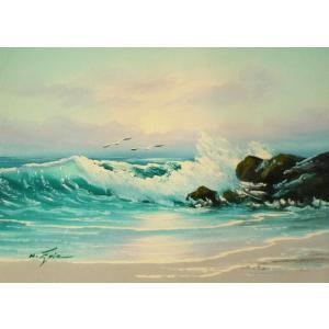 絵画 肉筆油絵 F4号 「波 海 海景画」-99- 特価|touo