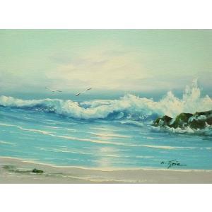 絵画 肉筆油絵 F4号 「波 海 海景画」-111- 特価|touo