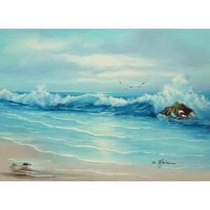絵画 肉筆油絵 F4号 「波 海 海景画」-135- 特価|touo