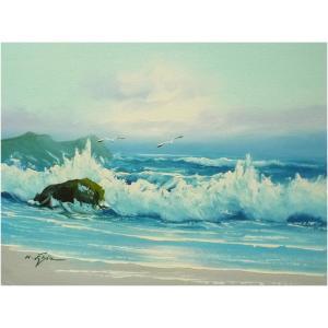絵画 肉筆油絵 F4号 「波 海 海景画」-113- 特価|touo