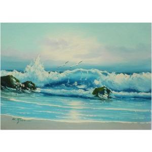 絵画 肉筆油絵 F4号 「波 海 海景画」-114- 特価|touo
