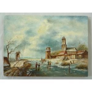 ヨーロッパ絵画 肉筆油絵  ライケルト作1 ボードサイズ18X13cm-新品-特価- touo
