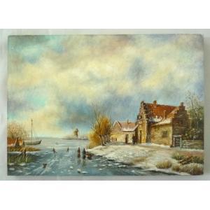 ヨーロッパ絵画 肉筆油絵  ライケルト作3 ボードサイズ18X13cm-新品-特価- touo