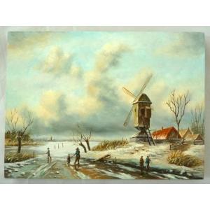 ヨーロッパ絵画 肉筆油絵  ライケルト作4 ボードサイズ18X13cm-新品-特価- touo
